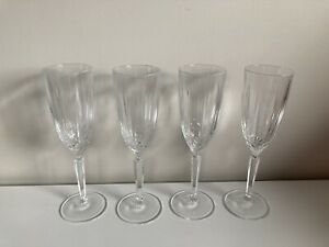 "Sparkle ""Marquis"" by Waterford Set Of Four (4) Crystal Champagne Flutes Glasses"