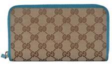 New Gucci 363423 Beige Colbalt GG Guccissima Canvas Zip Around Wallet Clutch