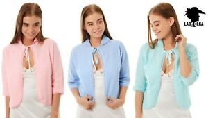 Lady Olga Ladies tie front knitted cardigan bed jacket pink blue aqua