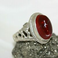 Vintage 925 Sterling Silver 6 CT Lab Cab Ruby Filigree Ring Men's Women's SZ 8.5
