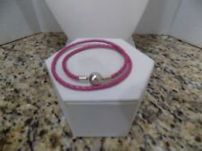 Pandora Double Braided Pink Leather Bracelet 14in. Round Clasp