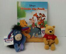 DISNEY WINNIE the Pooh HARDCOVER Book Vintage Plus 2 POOH Eeyore Plush