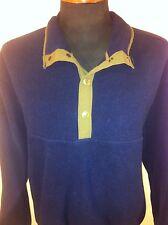 Mens WOOLRICH Large 1/4Snap Fleece Pullover Banded Cuffs & Hem