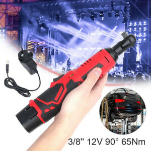 Cordless Electric Angle Wrench Tool 3/8'' 12V 90° 65Nm Right Ratchet + 2 Battery