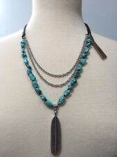 Lucky Brand Leather Silver tone Semiprecious Turquoise Feather Pendant Necklace