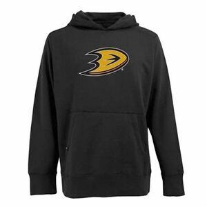 New Anaheim Ducks Big Logo Signature Hooded Pullover Sweatshirt Mens XL Black