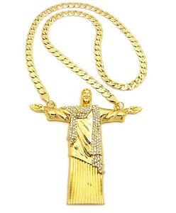 """Hip Hop Big Size Open Arm Jesus Whole Body Pendant 30"""", 36"""" Chain Necklace"""