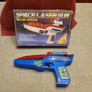"""New Old Stock Vintage Toy """"SPACE LASER GUN"""" Battery Operated Pistol W/Box"""