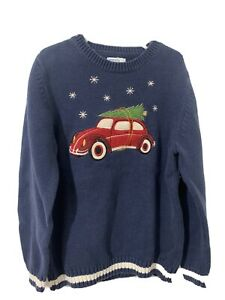 Boys Sz 7x GreenDog  Truck Christmas Tree Knit Crewneck Sweater