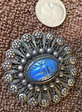Nice Vintage Filigree Blue Giant Beatle Pin, Jewelry 1.5� Dia. Estate Find, Nice