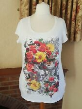 WHITE SUMMER SKULL FLORAL T SHIRT TOP GEORGE   - SIZE 18 20  SUMMER