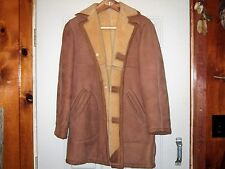 VINTAGE 1950s ABERCROMBIE & FITCH SHEARLING SHEEPSKIN MARLBORO MAN RANCH COAT 40