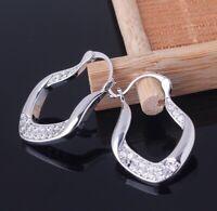 Exquisite Women 925 Silver Ear Stud Dangle Hoop Earrings Wedding Party Jewelry