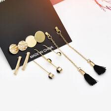 5Pairs Fashion Boho Geometry Circle Tassel Women Stud Ear Earrings Jewelry