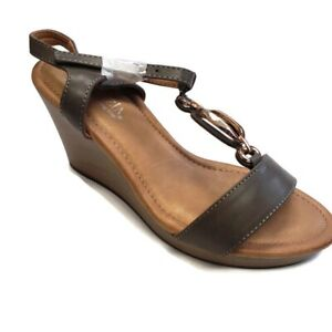 Patrizia By Spring Step Peephole Wedge Sandals Grey Womens Size 38 (7.5-8)