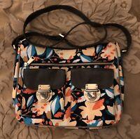 FOSSIL Floral Canvas & Leather Trim Crossbody Handbag Bag Purse