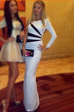 White Black Stripe One Sleeve Party Cocktail Prom Evening Dress size UK 10-12