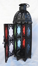 Large Intricate Moroccan Style Fretwork Stained Glass Candle Lantern - BNIB