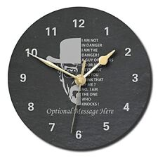 The Danger Design Slate Clock -300mm Personalised with text of your choice