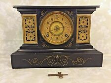 Antique Ansonia Cast Iron Clock Case 2 Gold Gilt Panels Running? Loose Bezel