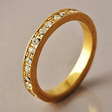 fashion Yellow gold filled womens jewelry cubic zirconia rings size 7