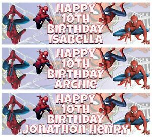 2 x Personalised SPIDERMAN Birthday Banner ANY NAME, ANY AGE