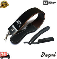 LEATHER STROP STRAP BELT WITH GENUINE BARBER SHAVING RAZOR BLACK WOOD