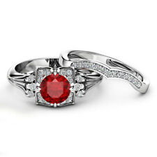 Set Ring Real 10k White Real Gold 2ct Round Ruby and Diamond Engagement Bridal