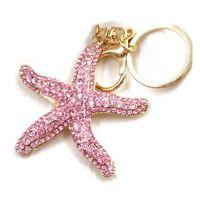 Pretty Sparkling Starfish Keychain Keyring Crystal Rhinestones Purse Pendan W5Y8