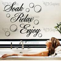 SOAK RELAX ENJOY Bathroom Wall Art Quote Sticker Vinyl Decal Home Art Decoration
