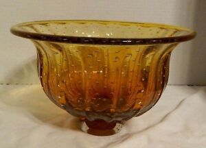 Vintage 1960's Murano Centerpiece Bowl W Footed Base Ribbed Design Amber Color