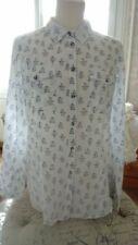 Chemise In extenso- motif cage à oiseaux -42 - coton blanc et bleu