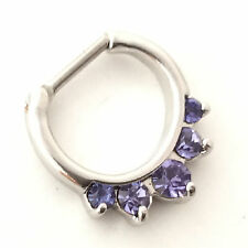 Septum Clicker Ring, Our ORIGINAL Amethyst inset CZ Stones, Stainless steel 16g