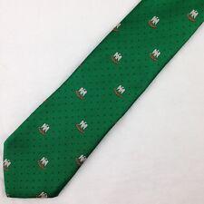 """Vintage Mens Beau Brummel Tie Necktie Green Eagles Pattern w blue Dot 54""""L 3""""W"""