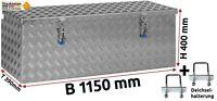 Deichselbox Staubox Gurtkiste Anhängerbox Alu Riffelblech 1150x400x390mm -501100