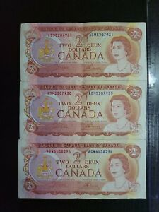 🇨🇦 Canada  2 dollars 1974 P-86b BC-47b Banknote Crow - Bouey (QTY 3)  101921-3