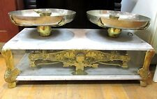 Beautiful  large brass & marble scale Arciello H, Argentina With Lots Of Stamps