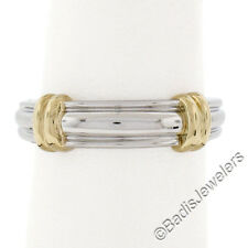 Plain Solid Platinum 18K Yellow Gold Heavy Ribbed High Polished Band Ring 8.64g