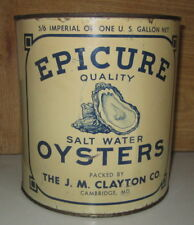 RARE ANTIQUE VINTAGE EPICURE BRAND GALLON OYSTER TIN CAN-CERTIFICATE 113