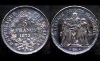 5 FRANCS 1873 A - FRANCE - argent / silver - Hercule - Patine noire
