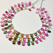 Pink Green Yellow Tourmaline Pear Briolette Bead 32 inch strand