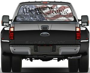 AK 47 Rifle We the People USA Flag Rear Window Graphic Decal Truck SUV