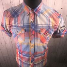 Scotch & Soda Checked Shirt - Men's Size Medium - White Blue Red - BNWT