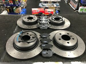 FOR BMW 640d BRAKE DISCS DRILLED  BRAKE PADS SENSOR FRONT REAR 348mm+345mm