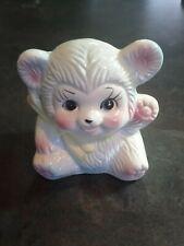 Vintage MCM Nancy Pew Teddy Bear Baby Nursery Plant Pot Planter Pink Blue Japan