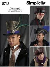 S8713 Sewing Pattern Men Costume Pirate Newsboy Steampunk Top Hats Millinery