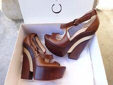 Casadei Dark Brown Skyhigh Leather Platform Sandals EU Size 8