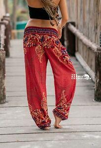 Harem Hippie Pants Peach Paisley Print Yoga Festival Trousers Boho Gypsystyle