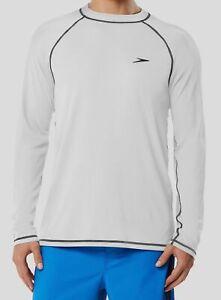 $160 Speedo Women's White Crew-Neck Swimwear Rash Guard Swim Tee Size L