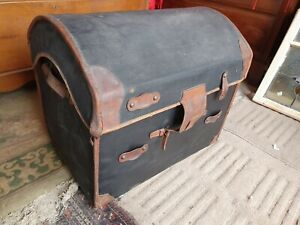 19th Century Leather Bound Canvas Dome Top Steamer Trunk by Wm Insall & Sons